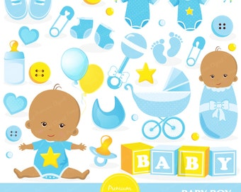 Baby boy clipart, Baby shower clipart, African American baby, Baby boy shower clipart, Digital clip art, Digital images - CA381