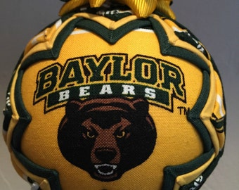 BAYLOR BEARS ORNAMENT Made From Baylor Fabric,Baylor Bears Ornament,Baylor Bears Decor,Quilted Ornaments,Baylor,ncaa ornament,Baylor Decor