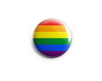 "Gay & Lesbian Pride button, magnet, Rainbow flag, 1.25"" pinback button, pin, badge, LGBT pride, queer pride badge"