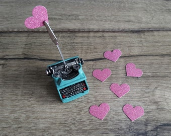25 Glitter Pink Hearts Confetti / Tiny Die Cuts / for Holidays / Birthdays / Party Favors / Baby shower / Decor
