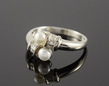 Pearl ring, Stackable ring, Elegant ring, Woman silver ring, Pearl silver ring, White pearl ring, Unique silver ring, Promise silver ring