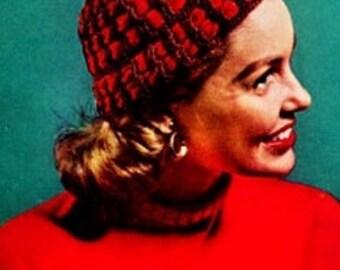 Crochet pdf patter-Ribbon CLOCHE Trim hat VINTAGE Pattern of 1953