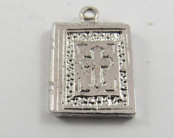 Small Bible Sterling Silver Charm or Pendant.