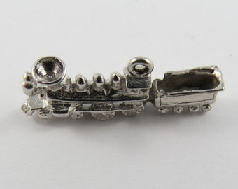 Locomotive Train Engine Towing Coal Cart Sterling Silver Charm or Pendant.