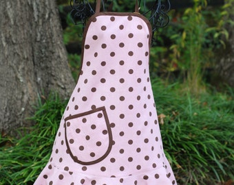 Adult Apron / Pink and Brown Dotted Apron with Brown Trim