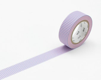 MT Washi Tape Grid  Blue on Sakura, MT Deco, Washi 15mm, MT Tape, Japanese Washi Tape, Masking Tape, Pink Washi Tape, Adhesive Washi Paper