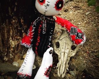 goth doll, rag doll, skeleton, Cute and Creepy, horror dolls, goth plush, stuffed animal, voodoo doll, Button Eyes, plushie, plush Dolls