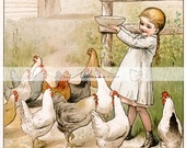 Digital Download Printable Art - Little Girl Feeding Chickens Antique Vintage - Paper Crafts Scrapbook Altered Art - Children's Book Art