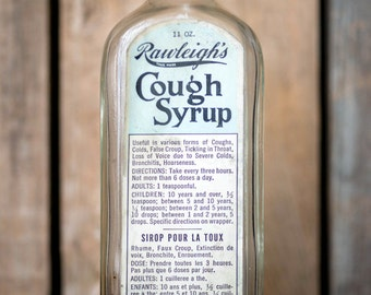 Vintage Rawleigh's Cough Syrup Bottle - Embossed Glass Side and Paper Label - Vintage Collectible Bottle - Rustic Home Bathroom Decor