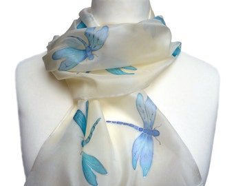 Hand painted silk scarf. Dragonflies design. Vanilla white, blue and silver.