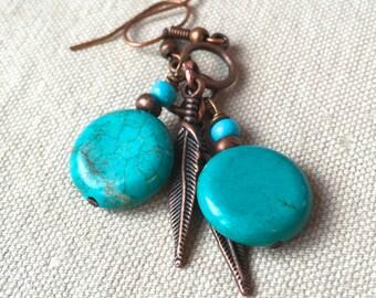 Copper & Turquoise Earrings, copper feather earrings tribal jewelry southwestern rustic boho jewelry bohemian dangle earrings earthy jewelry