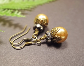 Gold glass pearl & rhinestone earrings, Victorian gold pearl and rhinestone earrings, Elegant gold and floral brass detailed earrings