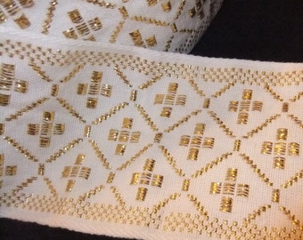 Liturgical Trim in White and Metallic Gold, Over 4 Yards