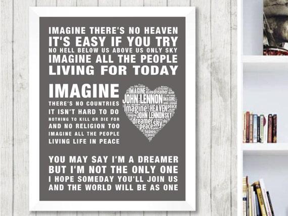 john lennon imagine music love song lyrics word art print. Black Bedroom Furniture Sets. Home Design Ideas
