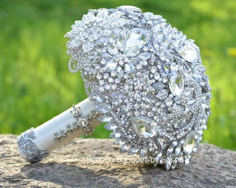 White silver wedding brooch bouquet, Crystal bouquet, Jewelry bouquet, Wedding bouquet, Bridal bouquet, Rhinestone bouquet, Broach Bouquet.