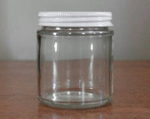 4 oz Glass Jar. Wholesale. 10. Made in USA. Recycled Clear Glass. Empty Glass Jar with White Lid. Craft Supply. Storage. Hot Cold Fill.