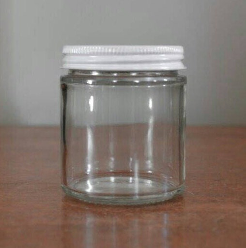 4 oz glass jar wholesale 10 made in usa recycled clear. Black Bedroom Furniture Sets. Home Design Ideas