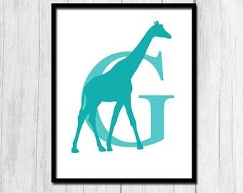 Giraffe Art Digital Download Monogram Art Initial Art Printable Art Giraffe Print Teal Print Zoo Animal Print Giraffe Decor Digital Art