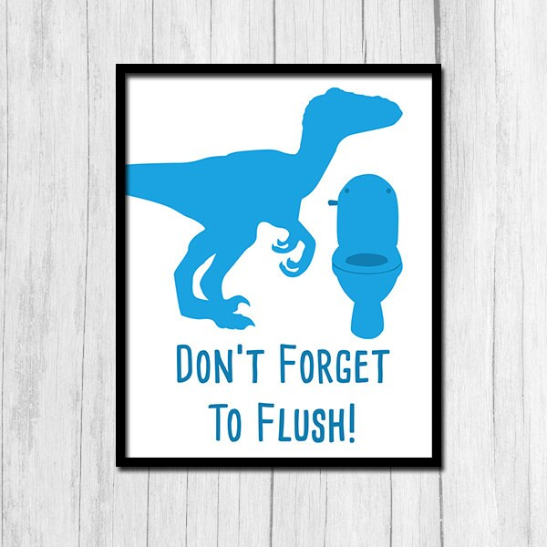 Flush Sign Instant Printable Art Flush Boys Bathroom Blue Boys