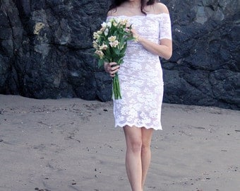 French Lace Short off-the-Shoulder Wedding Dress, Minidress, Lace Short Sleeve Beach Wedding Dress