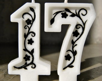 The numbers birthday candles, painted with stylized flowers