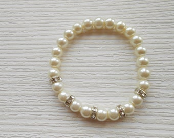 Ivory stretch glass pearls bracelet, beaded jewelry, great for wedding, bridesmaid, Mother of the groom, Bridal, Birthday gift, Valentine