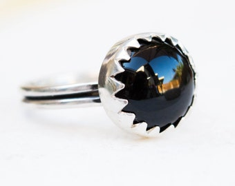 Black Onyx ring, Sterling silver ring, Black ring, Gemstone ring, Bezel set silver ring, Black stone ring, Bohemian jewelry, Handmade ring