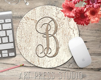Monogrammed Initial on Crackled Wood Mousepad, Distressed White Wood, Initial Monogram Mouse Pad, Shabby Chic Mousepad, Boho Chic Mouse Pad