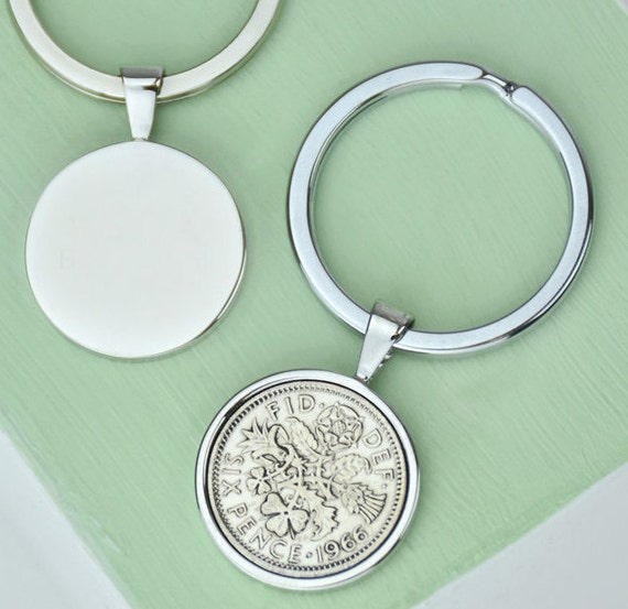 Sixpence 50th Birthday Coin Keyring 50th By EllieEllieltd