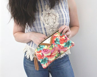Tropical Print Leather Wallet