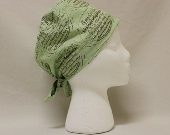 Light Green Seed and Plant Nursery Print Surgical Scrub Cap Chemo Dental Hat