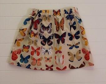 Butterfly Elastic Waist Skirt