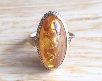 Amber Engagement Ring ~ Vintage 14k Yellow Gold Baltic Amber- Size 7.5 Alternative Wedding Statement Fine Jewelry