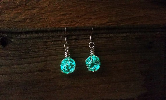 Magic Glowing Earrings, Glow in the Dark Cosmic Earrings, Space Earrings, Dangle Drop Orb Earrings, Dragon Egg, Geek Gift, Planet Earrings
