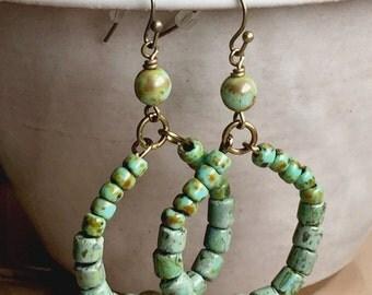 Turquoise Boho Earrings, Czech Glass Beaded Hoop Earrings, Turquoise Czech Glass Earrings, Bohemian Jewelry, Statement Earrings