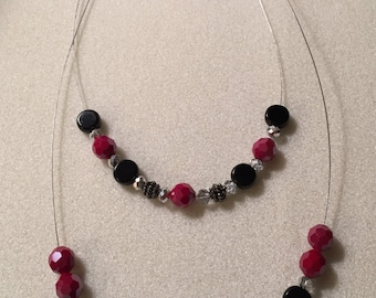 Necklace, Two-Tier with Red and Black Beads