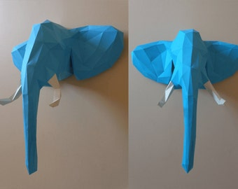 Elephant Head Papercraft PDF Pack - 3D Paper Sculpture Template with Instructions - DIY Wall Decoration - Animal Trophy