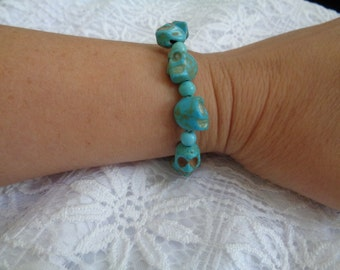 "7"" Skulls 12mm x 12 mm Stretch Turquoise ( Matte Blue, Blue Green, Teal)  Bracelet"