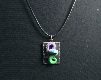 Rectangle Cameo Multi-colored Tentacle Necklace