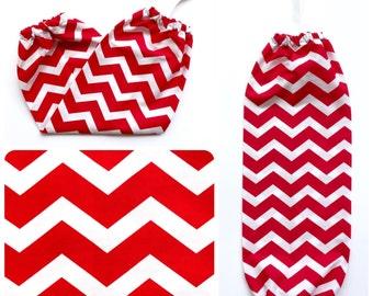 Plastic Bag Holder/ Grocery Bag Holder/ Bag Dispenser - Chevron Red