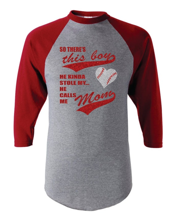Personalized glitter baseball mom raglan shirt this boy stole for Custom raglan baseball shirt