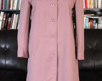 Vintage 1970s Forecaster of Boston Jacket | Mauve Pink Trench Coat |