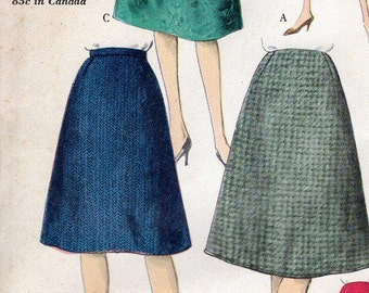FREE US SHIP Vogue 5321 Vintage Retro 1950s 50s Aline Skirt Uncut Sewing Pattern Factory Folded Unused Waist 25