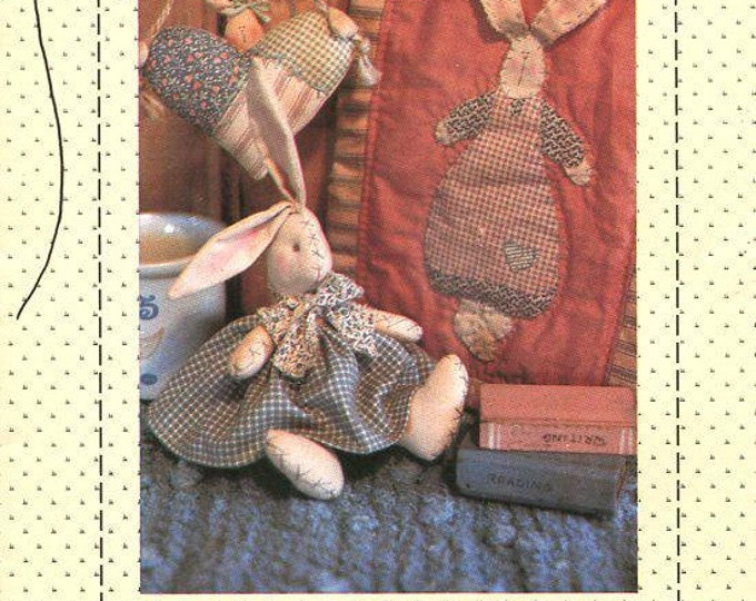 Country Stitches Mended with Love Bunny Rabbit Doll Hear Quilt Uncut 1991 Uncut  Craft Sewing Pattern Folk Art Free Us Ship