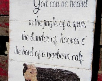 Cows God be heard sign-shiplap-14x21-hereford cattle-vintage hereford-farmhouse decor-beef cattle-fixer upper-farm sign-ranch decor-cattle