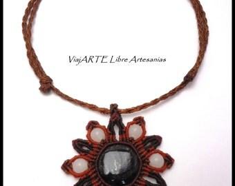 Macrame Gemstone Obsidian Silver Pendant Necklace - necklace Obsidian silver-Collar hippie-boho-said Obsidian