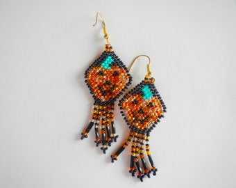 Jack-O-Lantern Halloween Pumpkin Beaded Earrings