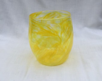 Daffodil Yellow Hand Blown Glass Bowl (AW B117)
