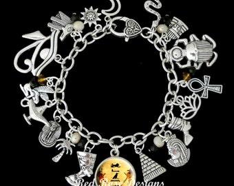 Ancient Egyptian Themed Personalised Hieroglyphics Name Charm Bracelet, Egypt