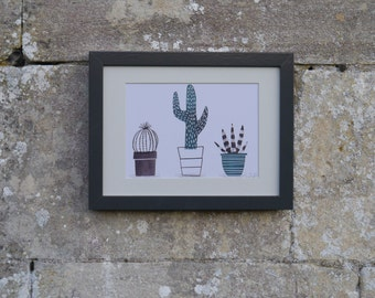 Art Print, Illustration, Hand Painted, A5 Size, Framed art, Cactus, Cacti, Succulents, Teal and Grey